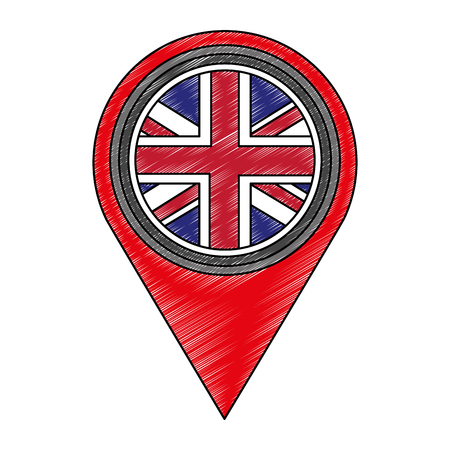 pin location with flag of great britain icon vector illustration design