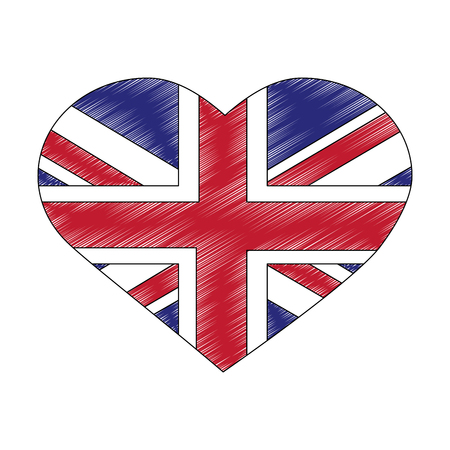 flag of great britain in heart shape icon vector illustration design