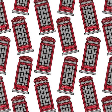 classic british telephone booth pattern vector illustration design
