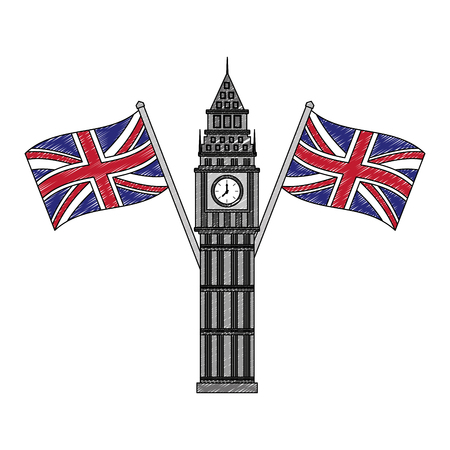 big ben tower british landmark with flags of great britain vector illustration design Illustration