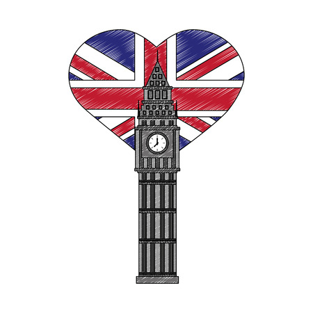 big ben tower british with flag of great britain in heart shape vector illustration design 向量圖像