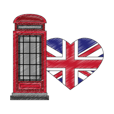 classic british telephone booth with flag great britain in shape heart vector illustration design Vectores