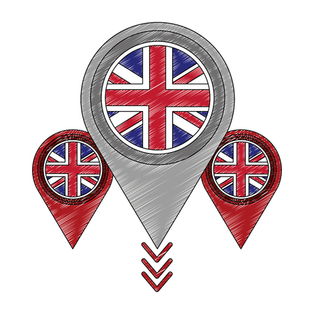 pins locations with flag of great britain icon vector illustration design