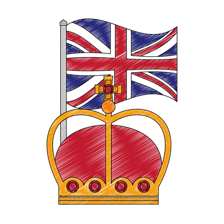 flag in pole of great britain with king crown icon vector illustration design