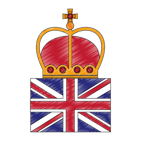 flag of great britain with king crown icon vector illustration design Foto de archivo - 104582599