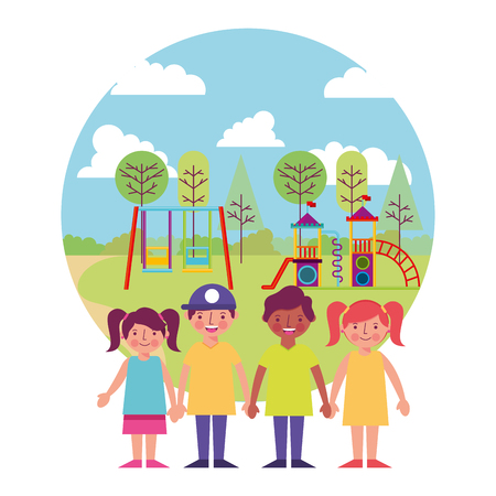 group of kids friends with amusement park icon vector illustration design