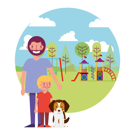father with little boy in amusement park and mascot dog vector illustration design