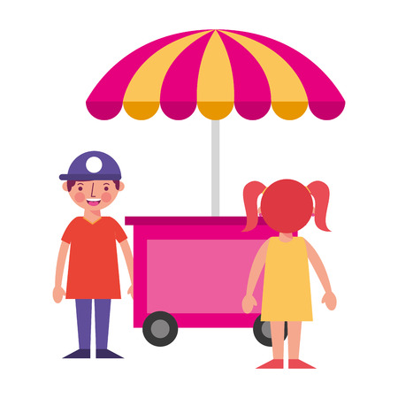 shop fast food cart with little kids icon vector illustration design