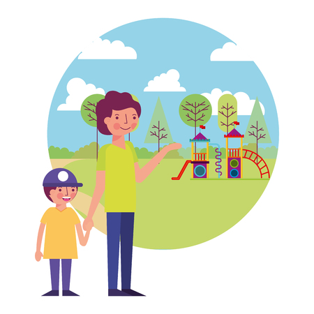 father with little boy in amusement park icon vector illustration design