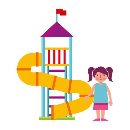 little girl in amusement park isolated icon vector illustration design