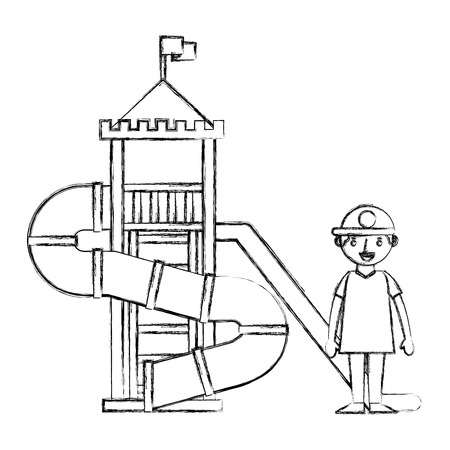 young boy in the palyground vector illustration sketch