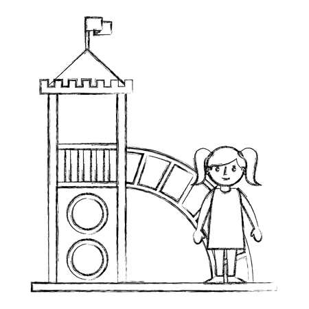 cute little girl in the playground vector illustration sketch