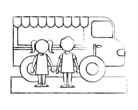 little boy and girl with food truck vector illustration sketch