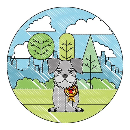 cute dog with medal sitting in the park city vector illustration