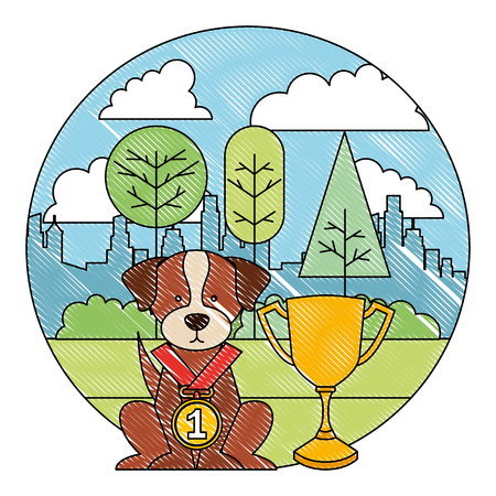 little dog with medal and trophy in the park city vector illustration Ilustração