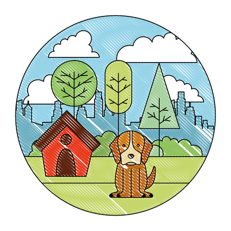 dog with wooden house in the park city vector illustration