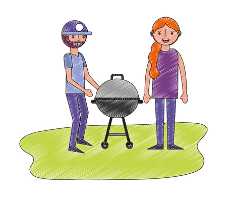 couple with grill barbecue in the park vector illustration