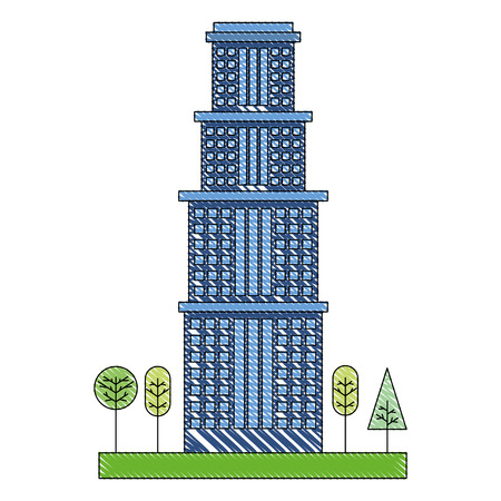 building architecture skyscraper tree natural vector illustration Illustration
