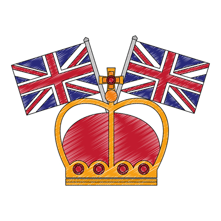 king crown with flags in pole of great britain vector illustration design Reklamní fotografie - 114982224
