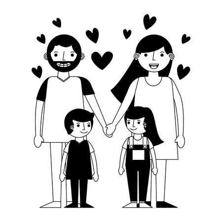 happy family with hearts avatars characters vector illustration design  イラスト・ベクター素材