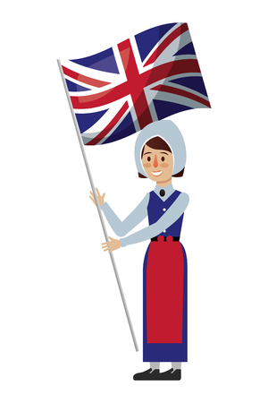 woman cartoon in clothes traditional england flag vector illustration