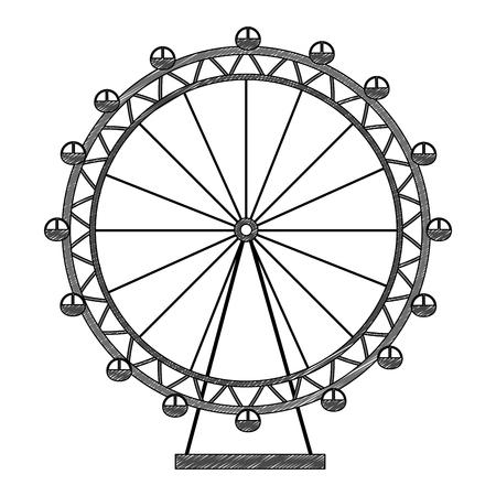 Conception d'illustration vectorielle d'icône d'amusement de roue panoramique