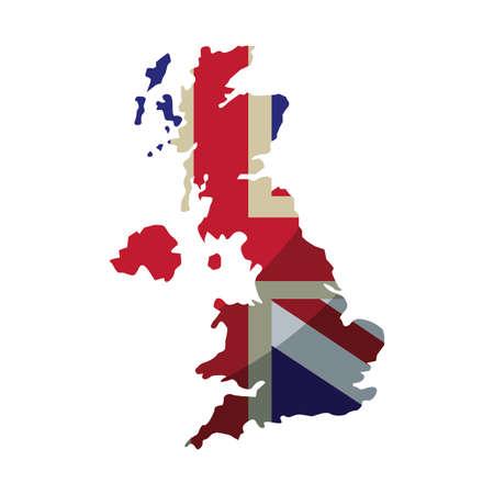 ongebonden koninkrijk vlag in kaart land vectorillustratie Vector Illustratie