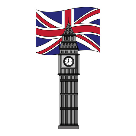 london big ben british flag landmark symbol vector illustration Illustration