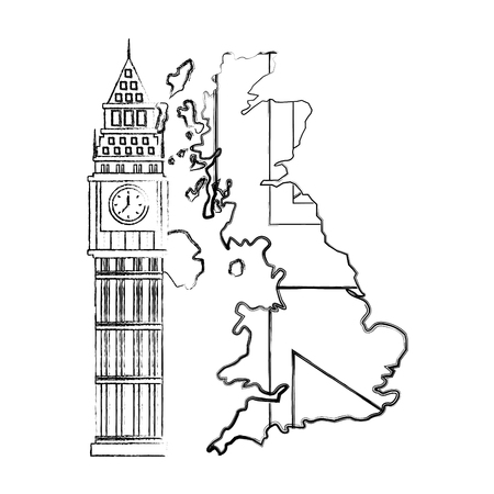 map great britain with big ben tower icon vector illustration design