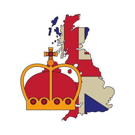 Bandera de Reino Unido en el mapa y la ilustración de vector de realeza corona Ilustración de vector