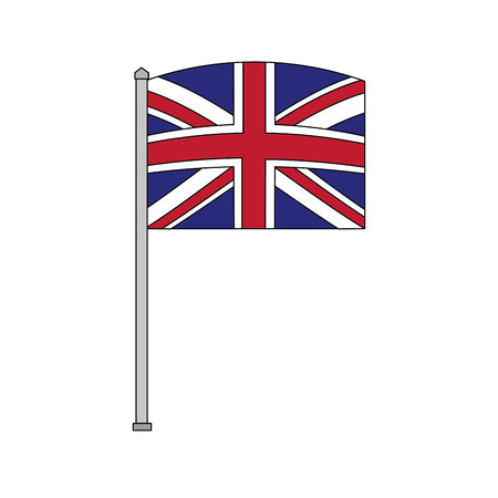 flag in pole of great britain isolated icon vector illustration design