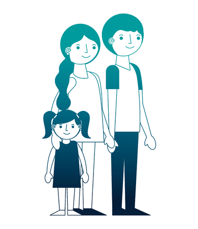 family parents with her little daughter vector illustration neon Illusztráció