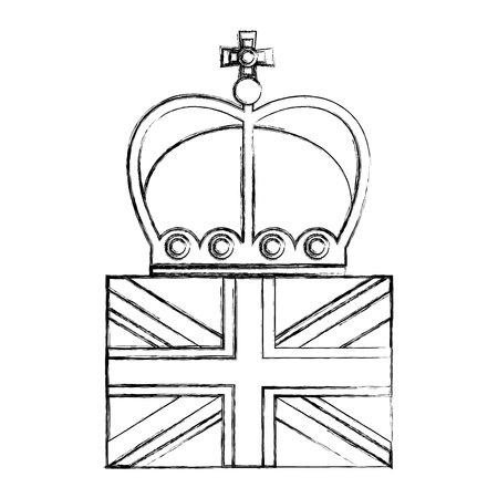 united kingdom flag and crown monarchy symbol vector illustration Stock Vector - 104584983