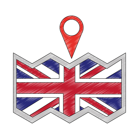 paper map with flag of great britain and pin location icon vector illustration design