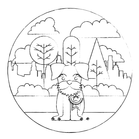 cute dog with medal sitting in the park city vector illustration sketch