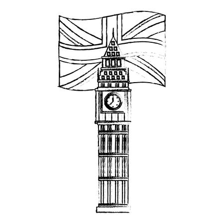 big ben tower british landmark with flag of great britain vector illustration design