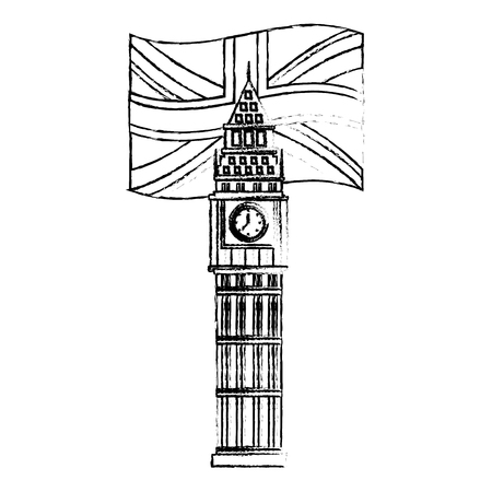 big ben tower british landmark with flag of great britain vector illustration design