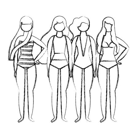 woman in swimsuit  vector illustration Illustration