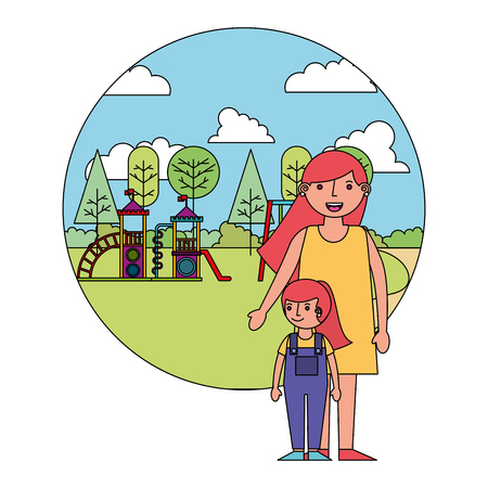 mother with little girl in amusement park icon vector illustration design Illustration
