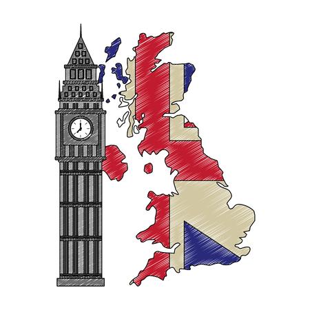 united kigndom flag in map big ben tower vector illustration