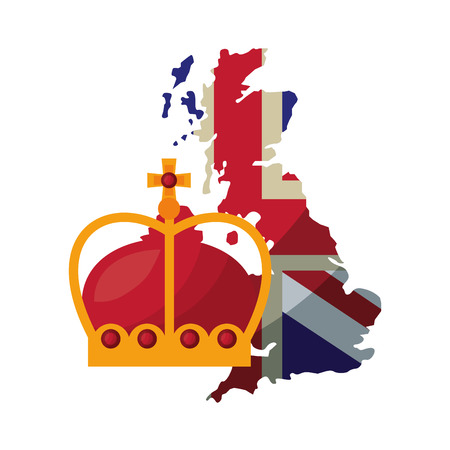 united kingdom flag in map and crown royalty vector illustration