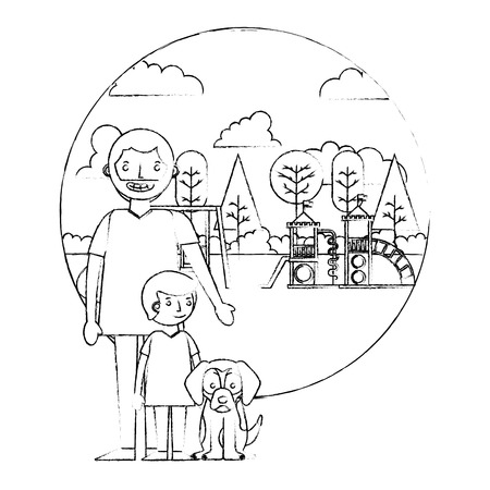 dad with her son and dog in the park playground vector illustration sketch