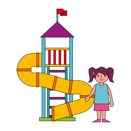 little girl in amusement park isolated icon vector illustration design