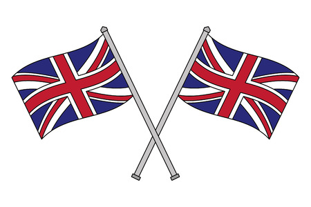 crossed united kingdom flags in poles vector illustration
