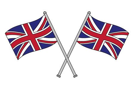 gekruiste vlaggen van het Verenigd Koninkrijk in palen vectorillustratie