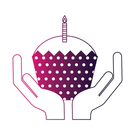 hands holding birthday cupcake with candle vector illustration neon