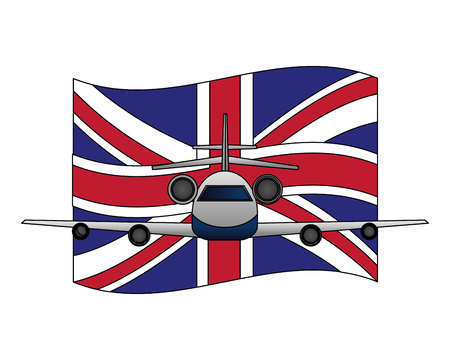 airplane with england flag front view vector illustration