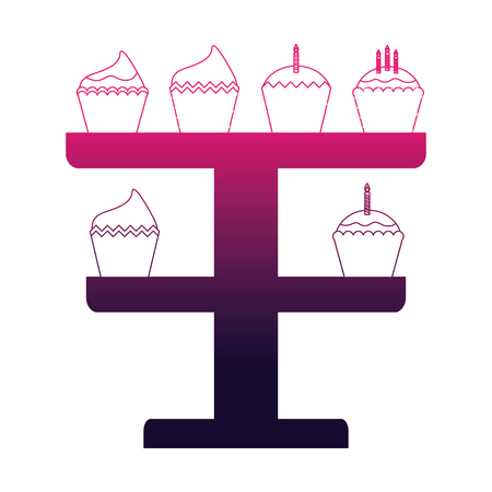 birthday cupcakes with candles in rack decoration vector illustration neon Ilustração
