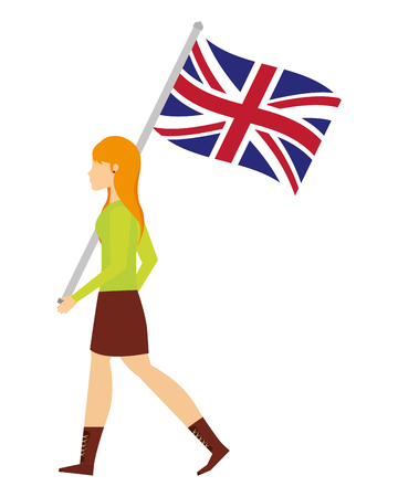 woman walking with united kingdom flag vector illustration Ilustrace