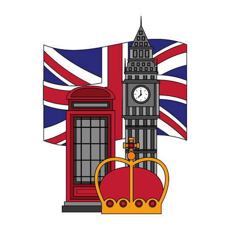 united kigndom flag big ben tower telephone box and crown vector illustration Çizim